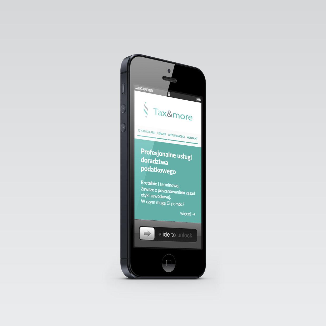 Strona internetowa Tax&More widok na smartfonie