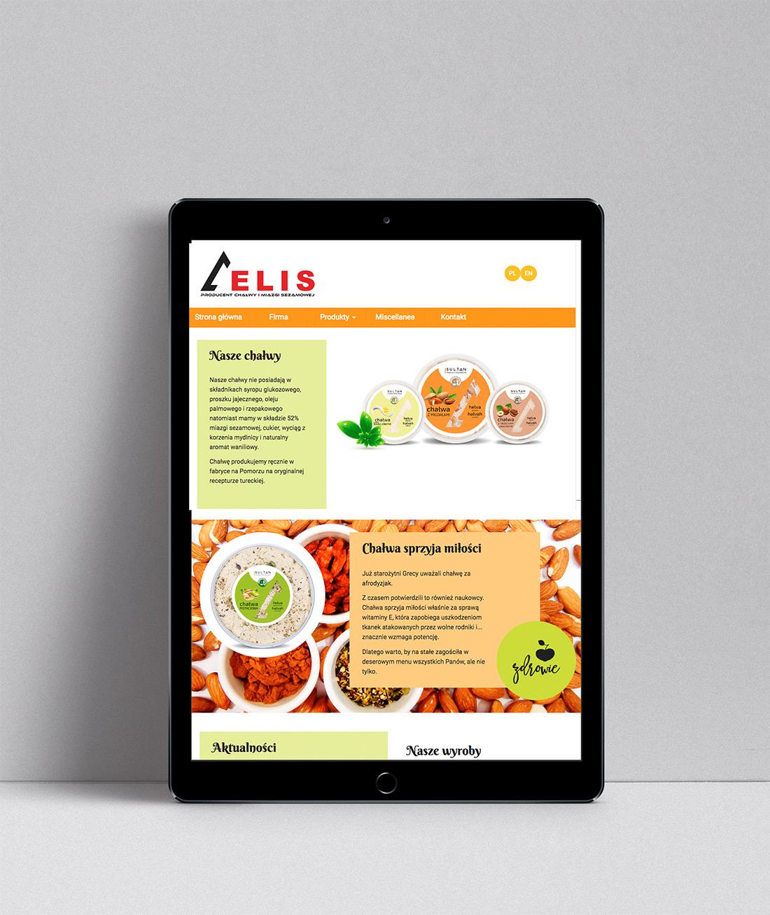 Projekt strony internetowej dla producenta chałwy widok na tablecie