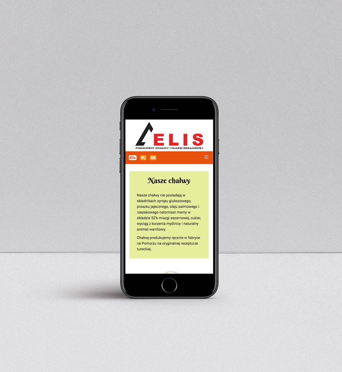 Projekt strony internetowej dla producenta chałwy widok na smartfonie