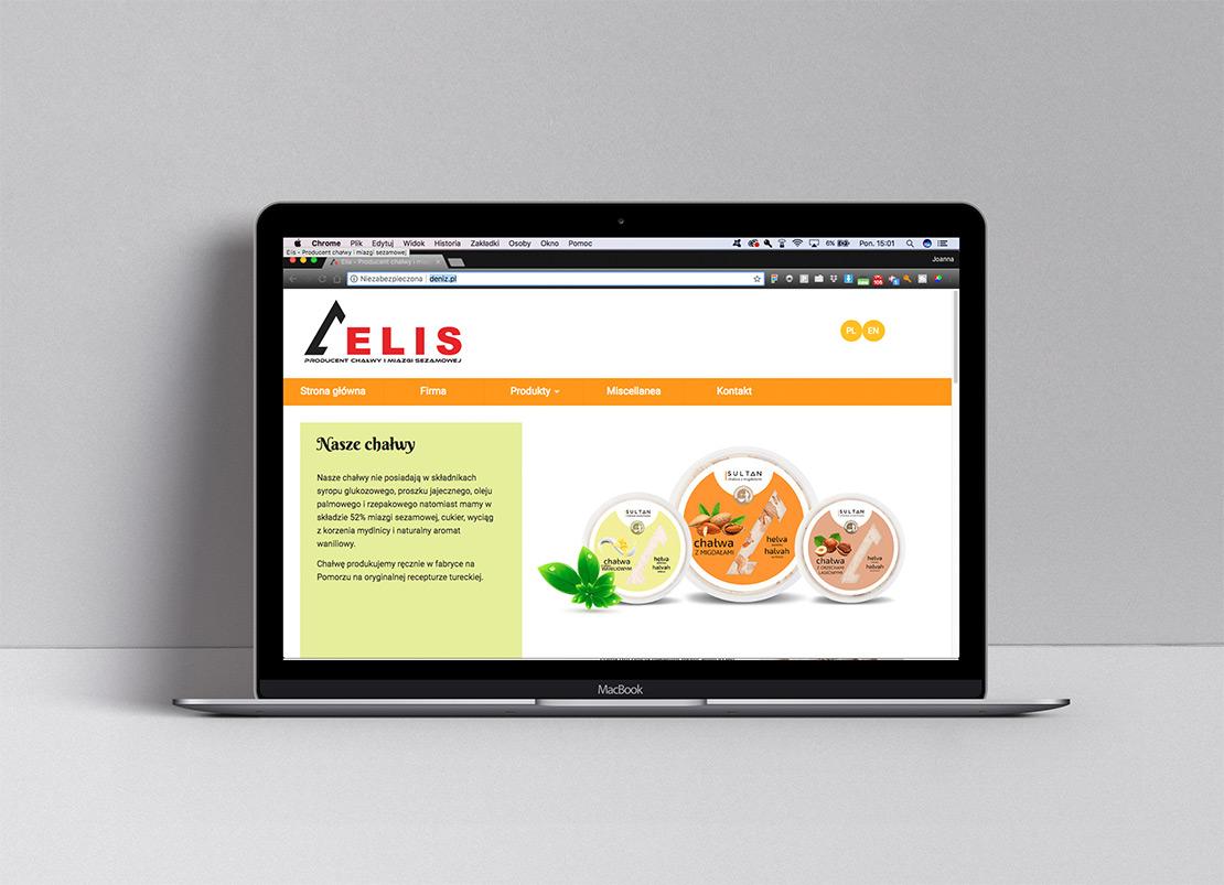 Projekt strony internetowej dla producenta chałwy widok na laptopie