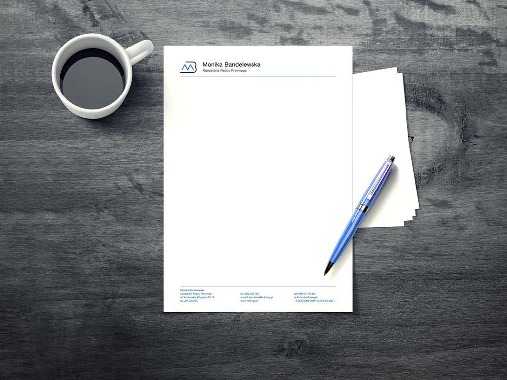 Papier firmowy dla kancelarii radcy prawnego Moniki Bandelewskie w Gdańsku