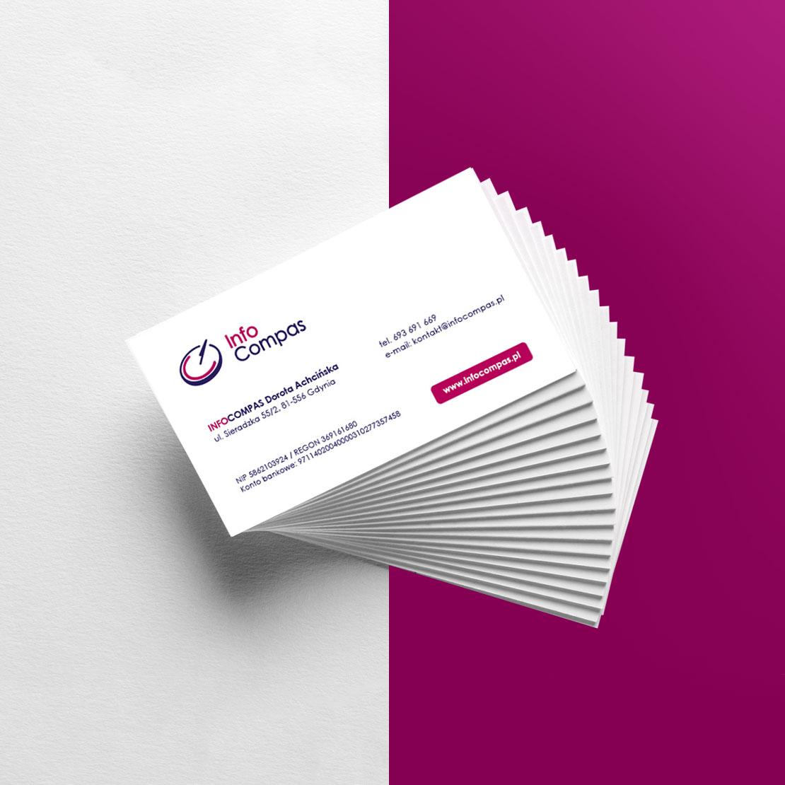 projekt wizytówki dla firmy infoCompas